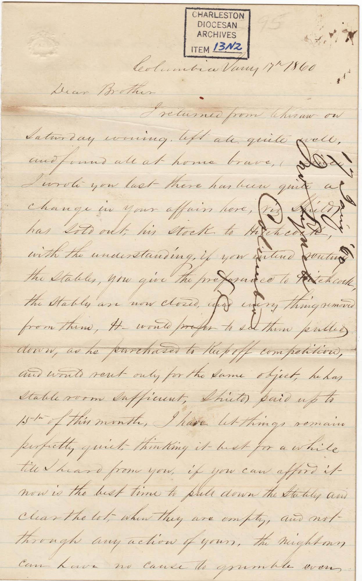 091. John Lynch to Bp Patrick Lynch -- January 17, 1860