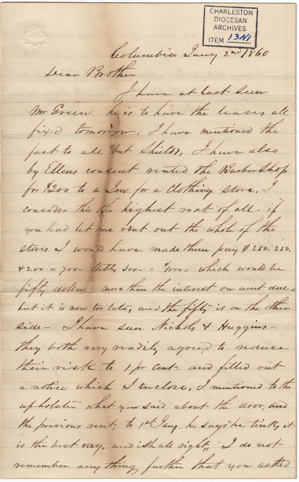 090. John Lynch to Bp Patrick Lynch -- January 2, 1860