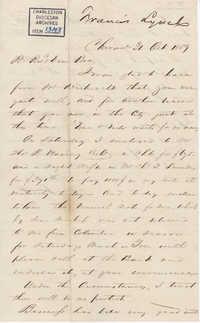 084. Francis Lynch to Bp Patrick Lynch -- October 31, 1859