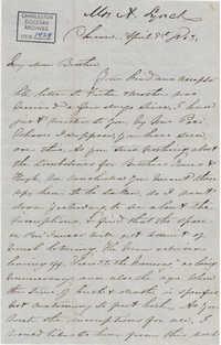 274. Anna Lynch to Bp Patrick Lynch -- April 9, 1863