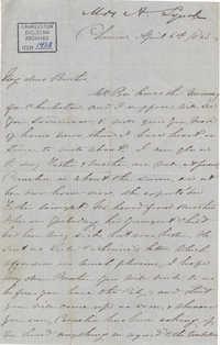 273. Anna Lynch to Bp Patrick Lynch -- April 6, 1863