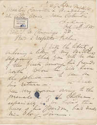 375. Madame Baptiste to Revd J. W. Cummings -- October 28, 1865