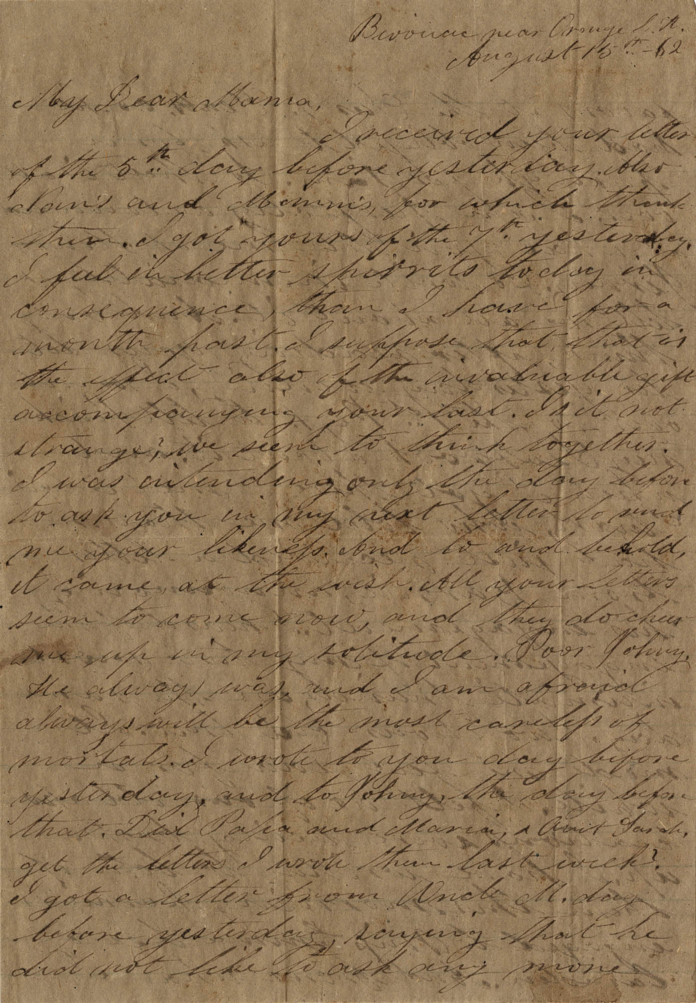 069. Willis Keith to Anna Bell Keith -- August 15, 1862