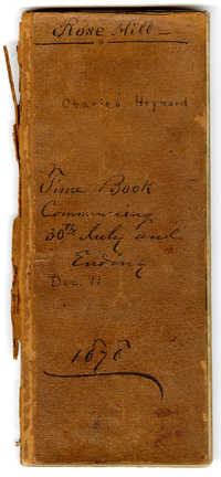 Rose Hill, Charles Heyward, Time Book, Commencing 30th July and Ending Dec. 11, 1878