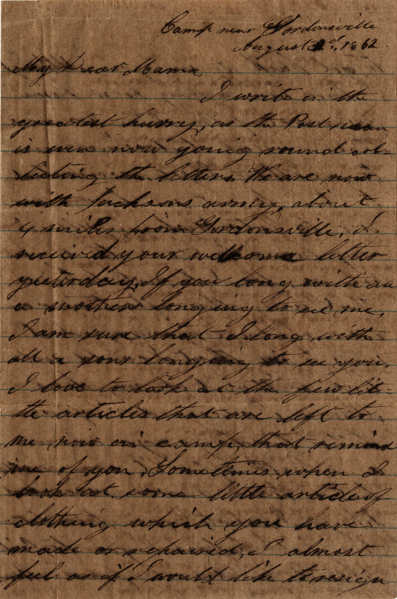 064. Willis Keith to Anna Bell Keith -- August 3, 1862