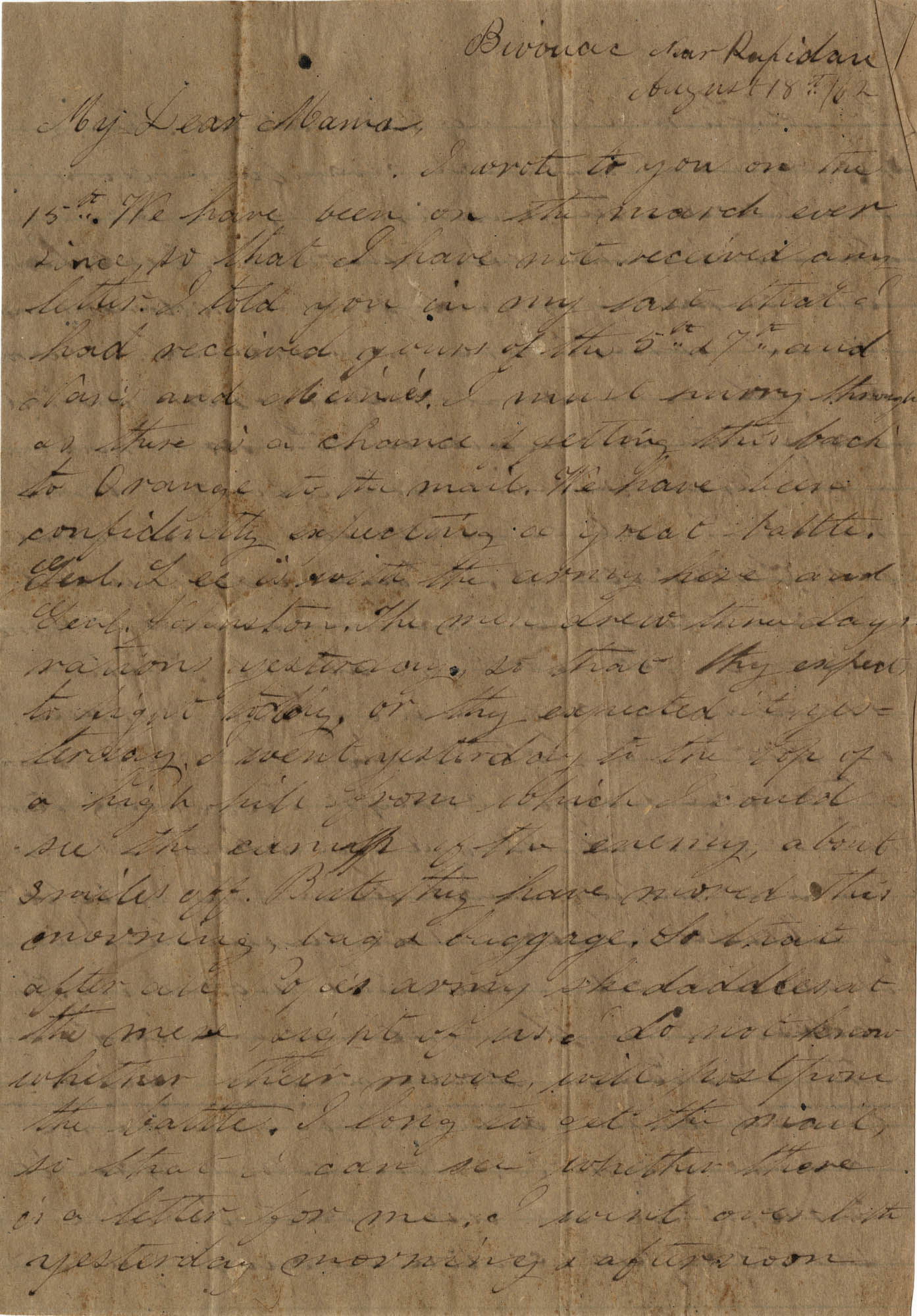 068. Willis Keith to Anna Bell Keith -- August 18, 1862