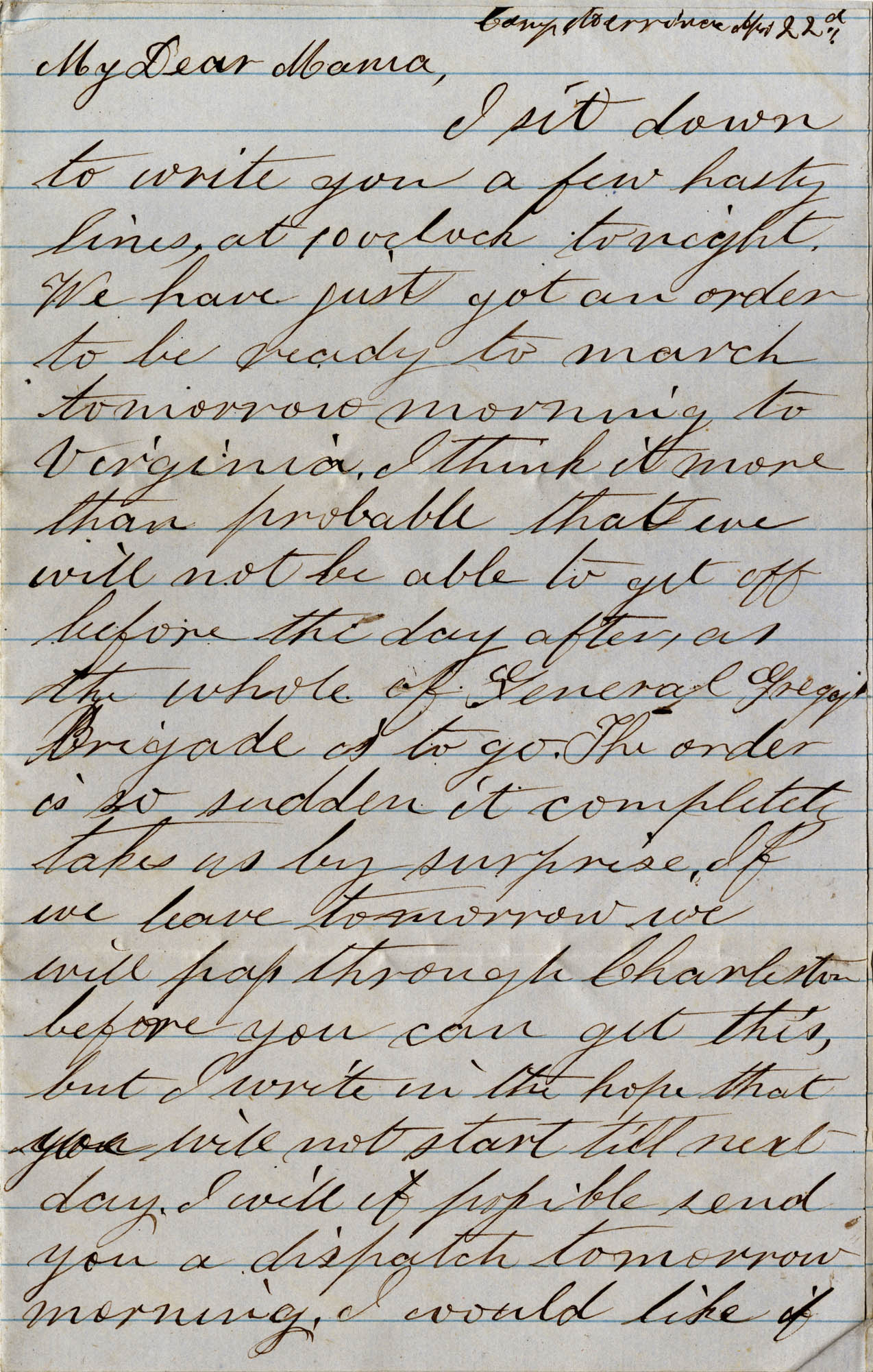 053. Willis Keith to Anna Bella Keith -- [Sept?] 22, 1862.