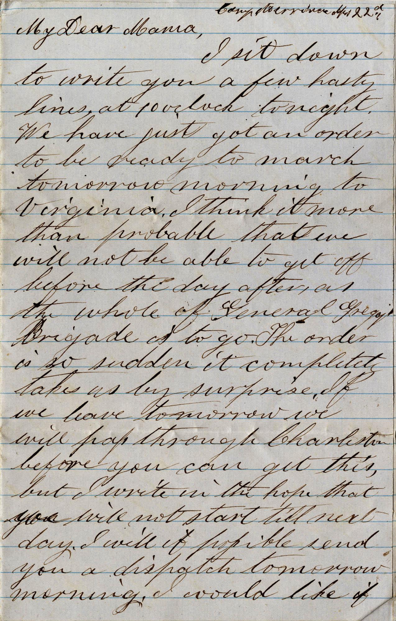 053. Willis Keith to Anna Bella Keith -- [Sept?] 22, 1862.