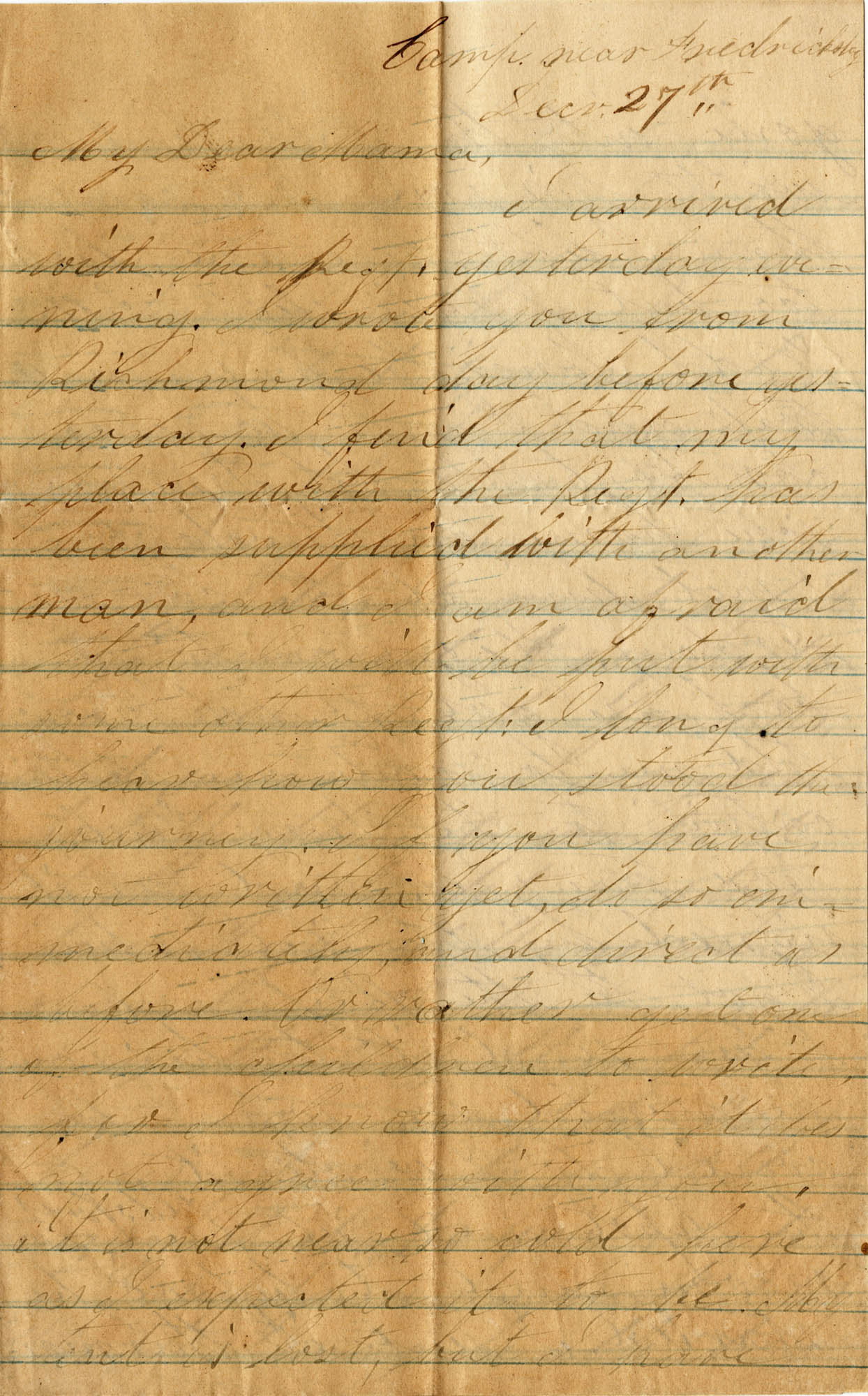 098. Willis Keith to Anna Bell Keith -- De27, 1863?