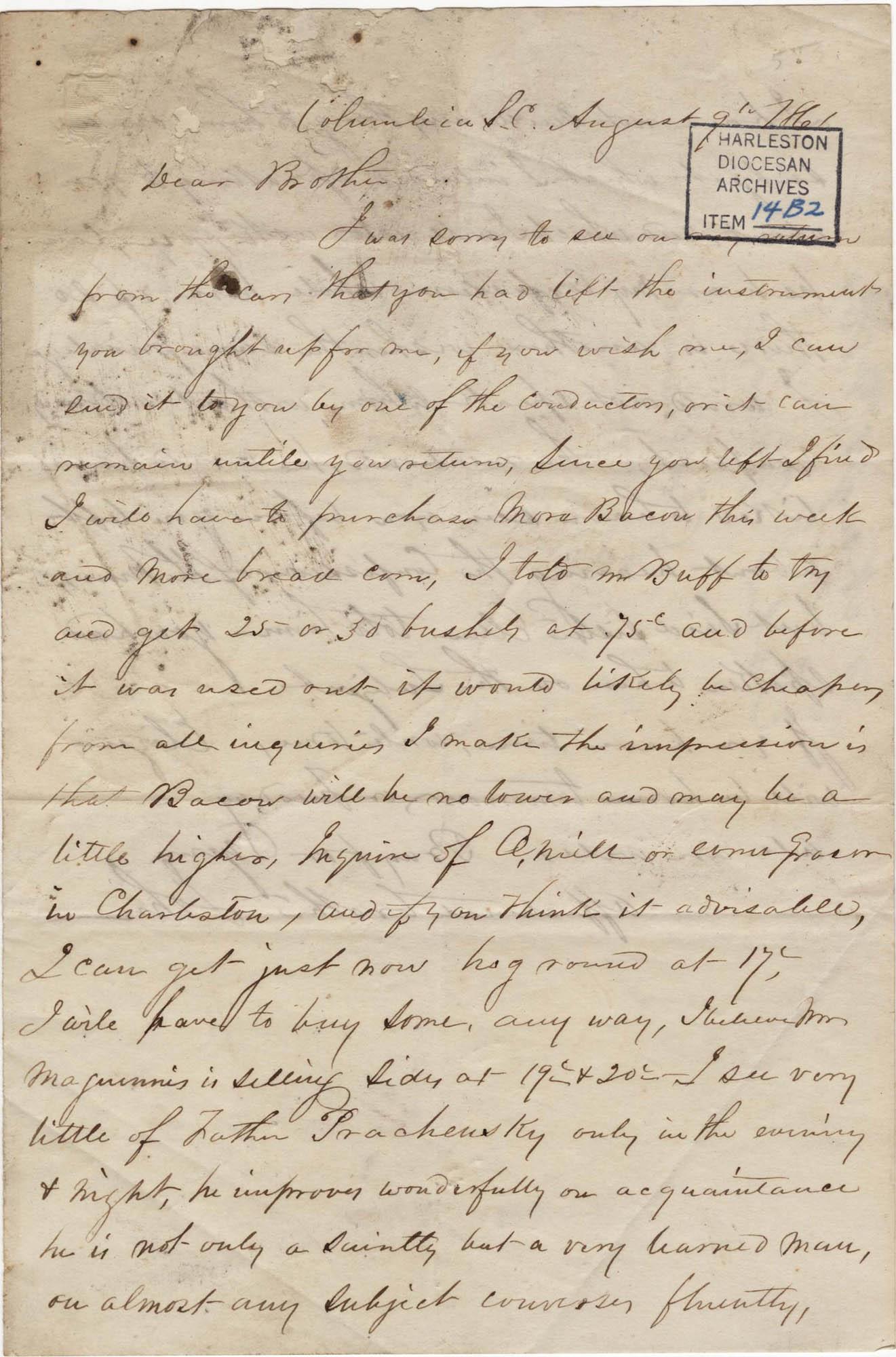 165. John Lynch to Bp Patrick Lynch -- August 9, 1861