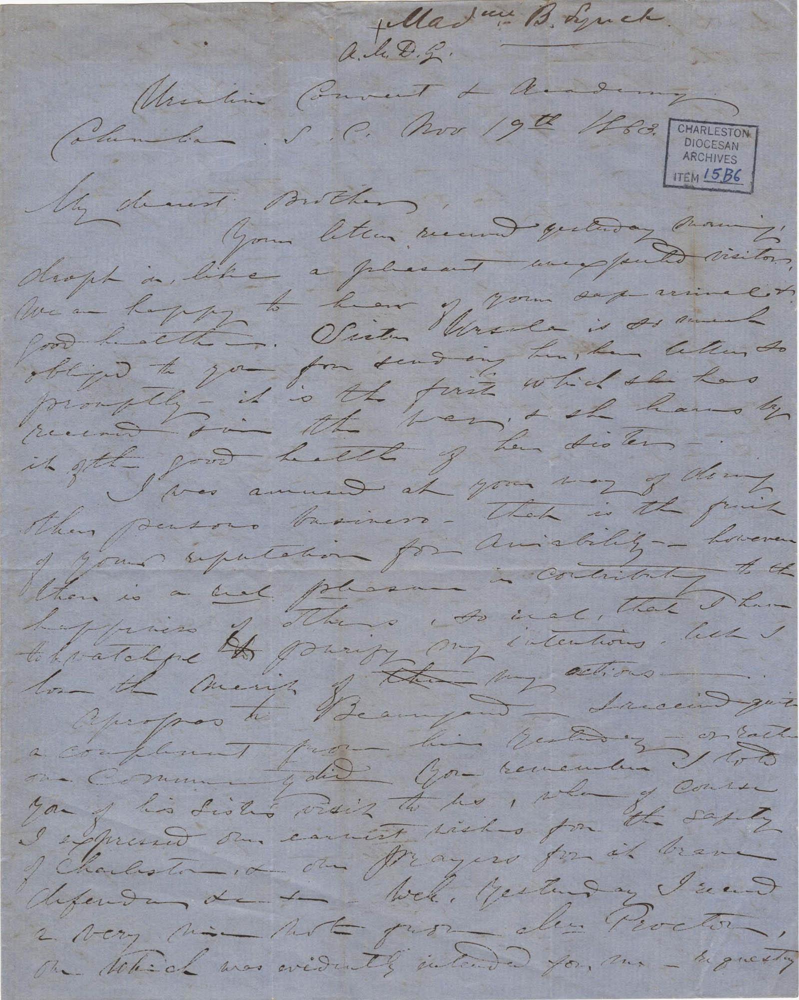 323. Madame Baptiste to Bp Patrick Lynch -- November 19, 1863