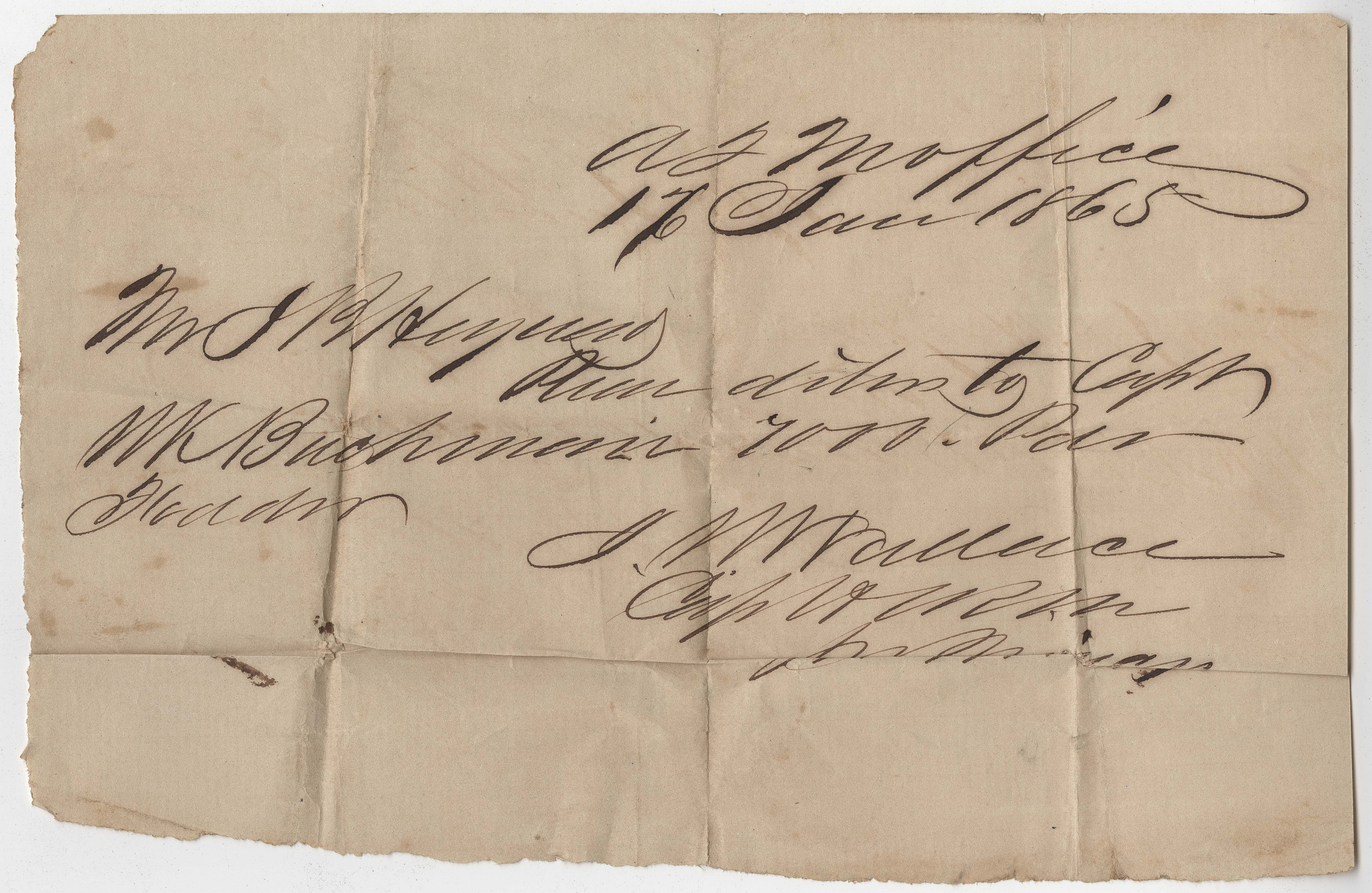 227. Receipts and orders for James B. Heyward from quartermaster's office  -- January 1865