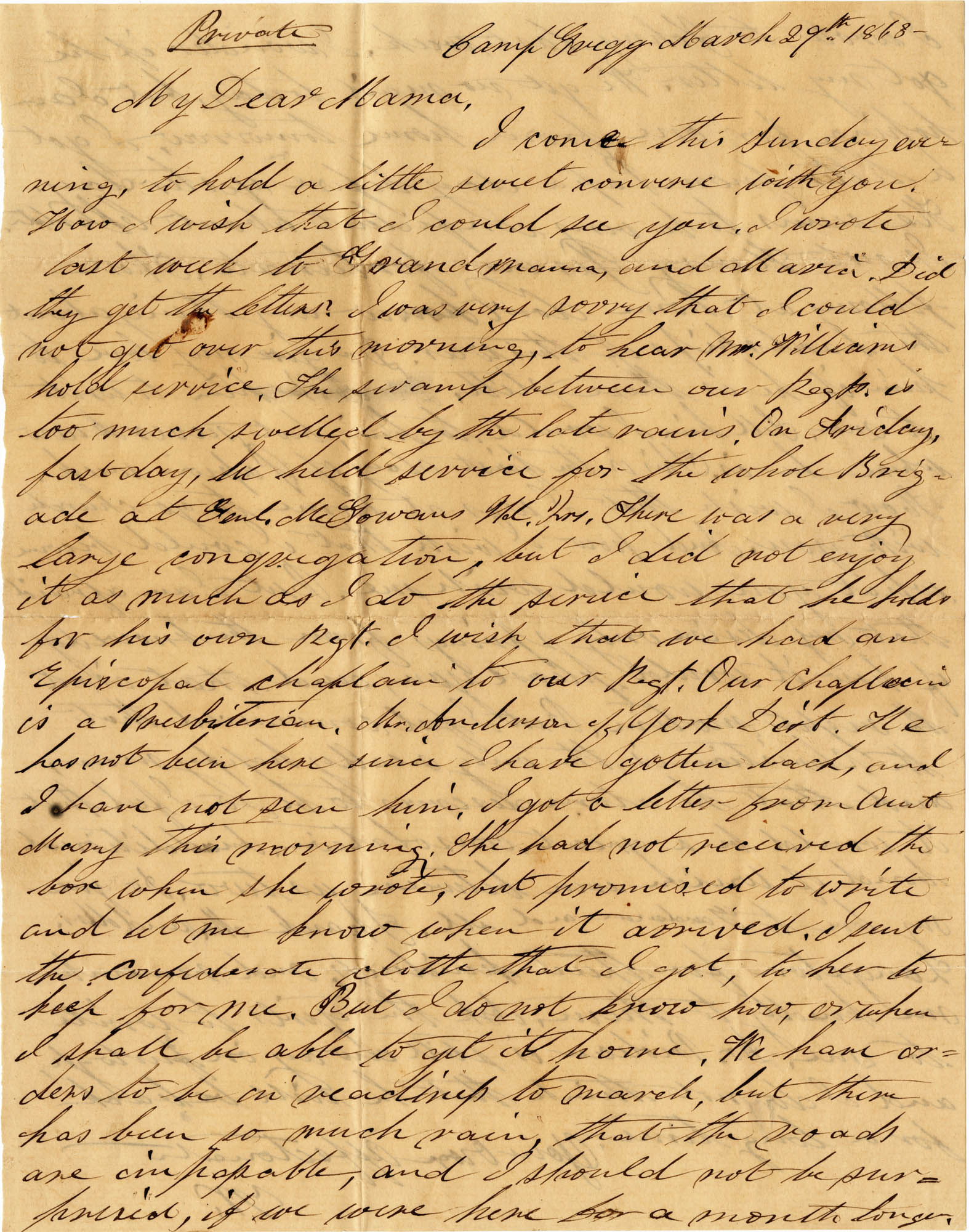 078. Willis Keith to Anna Bell Keith -- Mar. 10, 1863