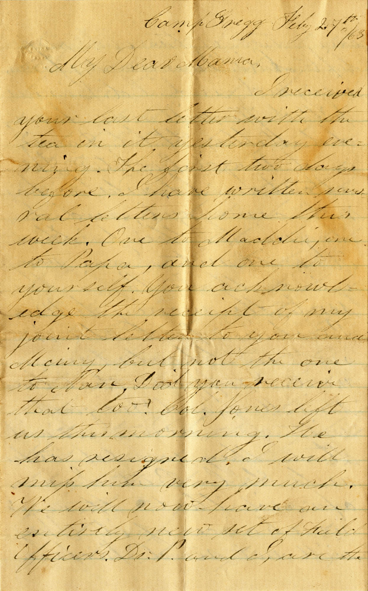 073. Willis Keith to Anna Bell Keith -- Feb. 27, 1863