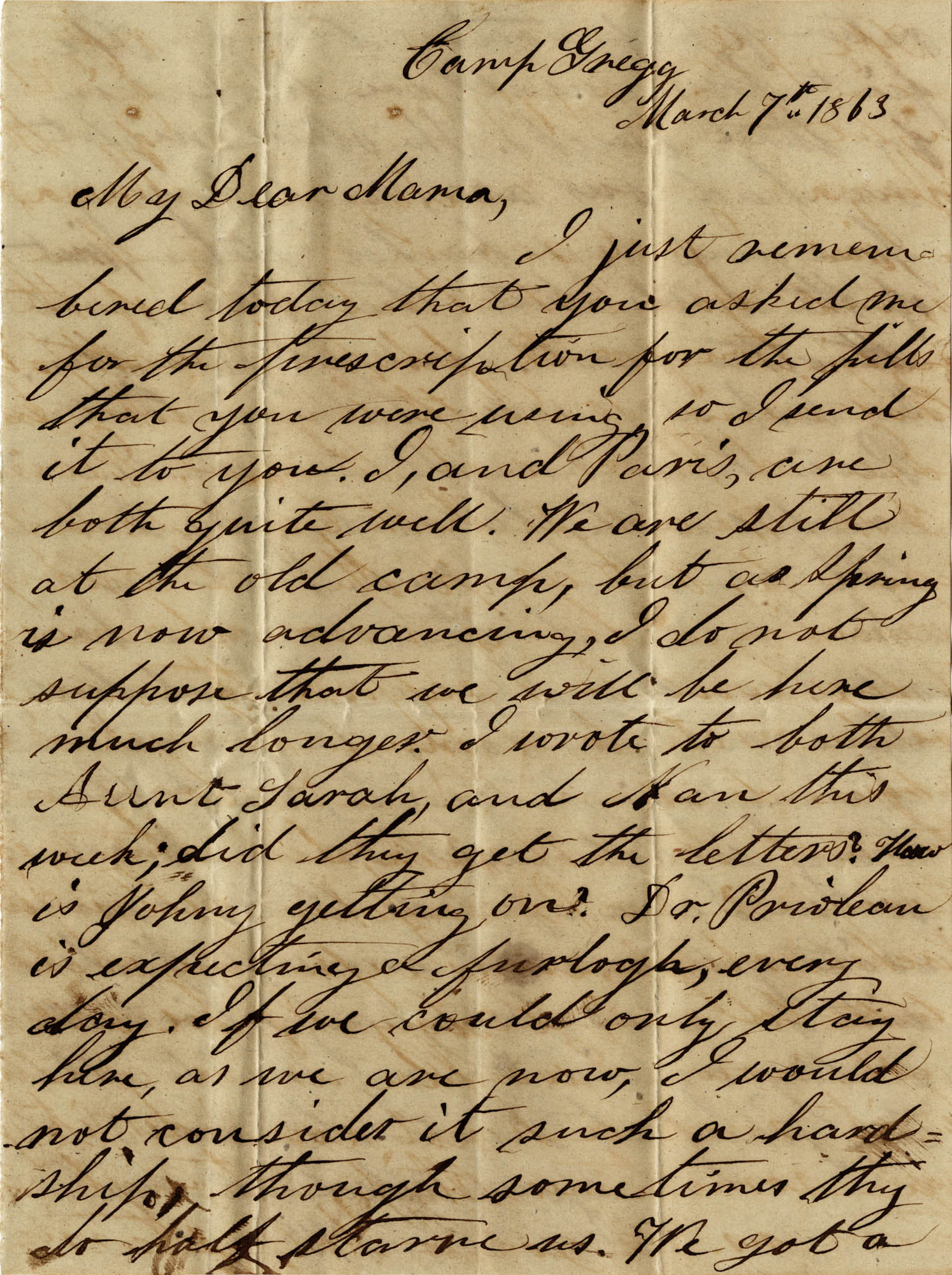 076. Willis Keith to Anna Bell Keith -- Mar. 07, 1863
