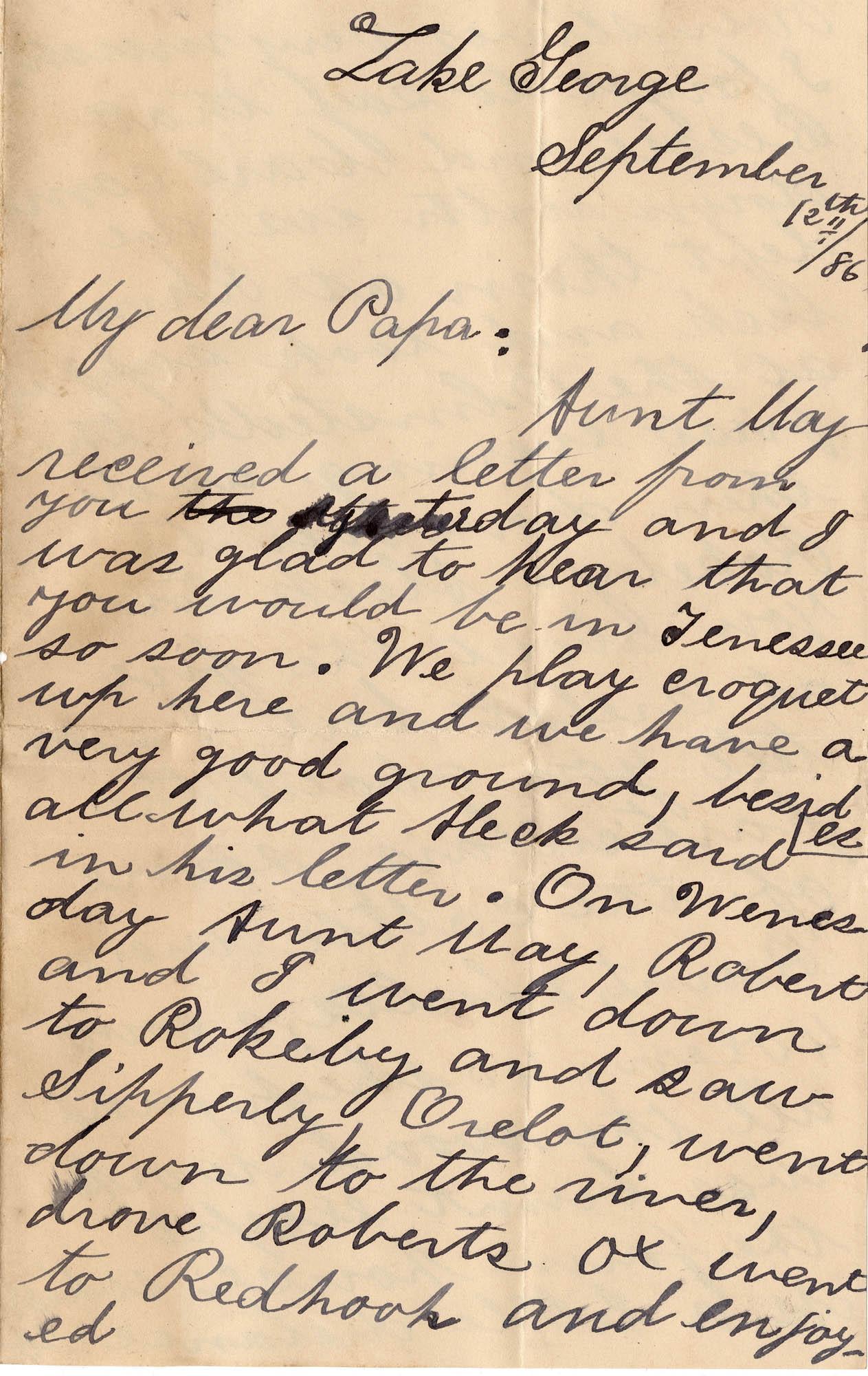 151. Trapier [Marshall?] to Alex Marshall? -- Sept. 12, 1886