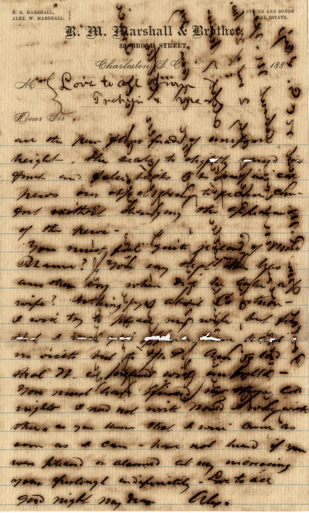 152. Alex Marshall to Magdalen Elizabeth Wilkinson Marshall? -- c.1886