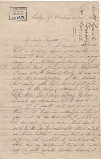 106. Robert Lynch to parents -- April 24, 1860