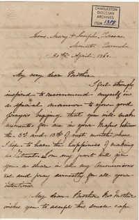 108. Madame Antonia to Bp Patrick Lynch -- April 30, 1860