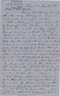 236. Francis Lynch to Bp Patrick Lynch -- August 21, 1862