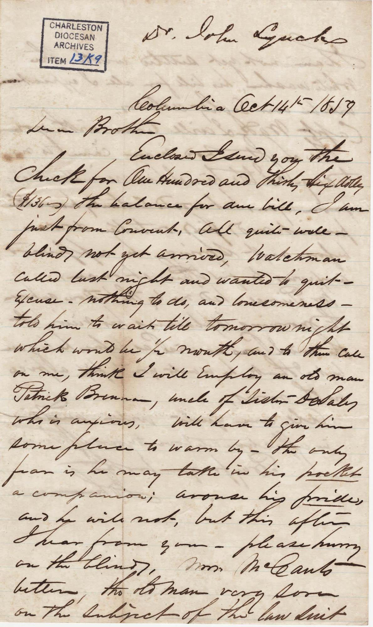 080. John Lynch to Bp Patrick Lynch -- October 14, 1859