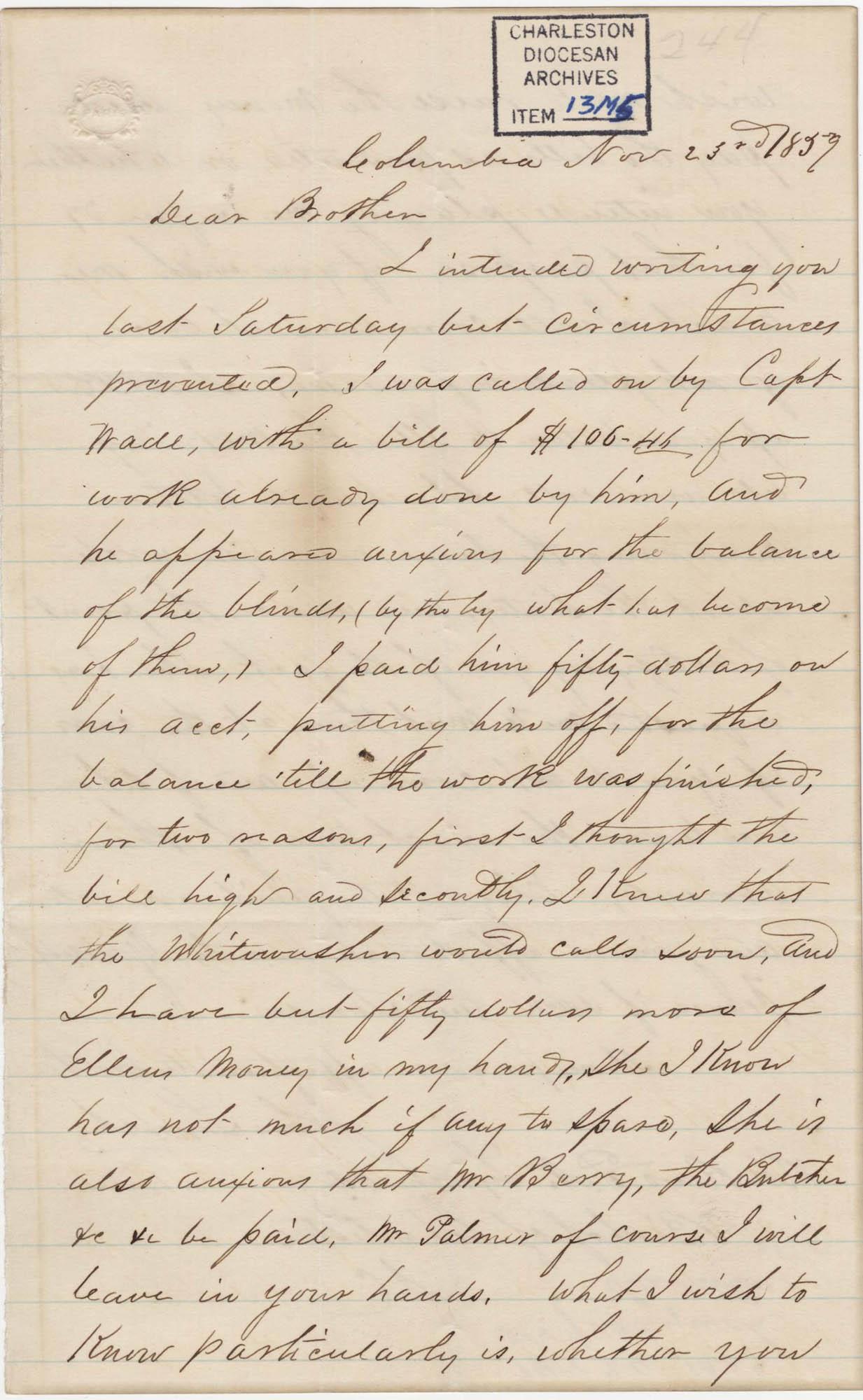 086. John Lynch to Bp Patrick Lynch -- November 23, 1859