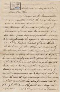 157. John Lynch to Bp Patrick Lynch -- May 14, 1861