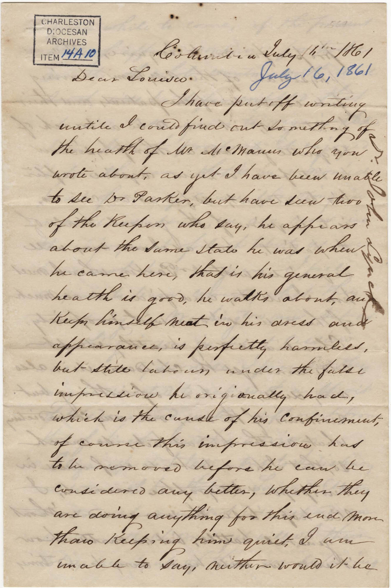 163. John Lynch to Louisa (?) -- July 16, 1861