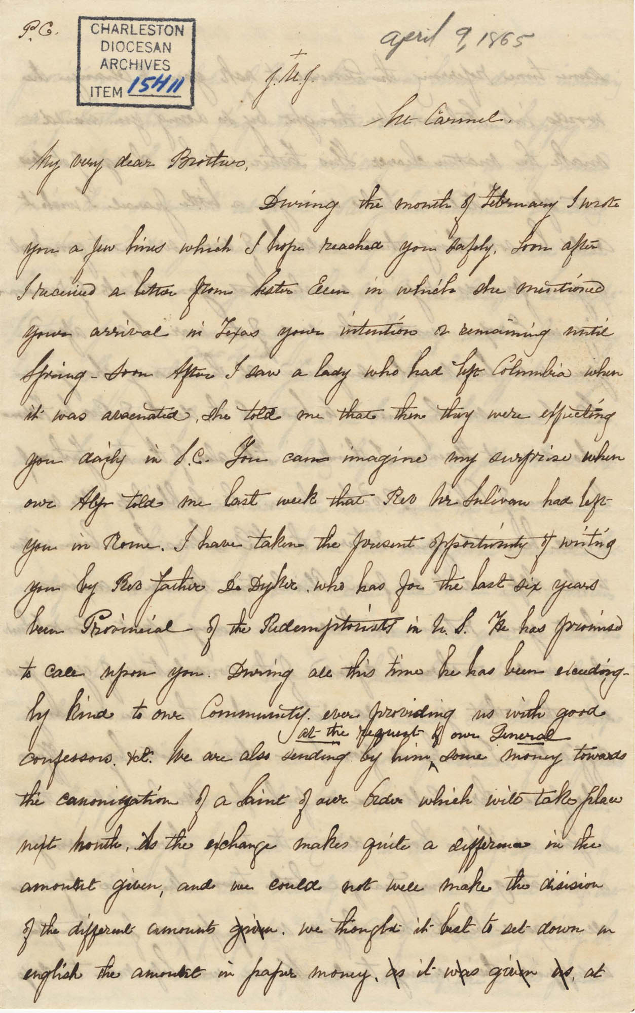 364. Madame Antonia to Bp Patrick Lynch -- April 9, 1865