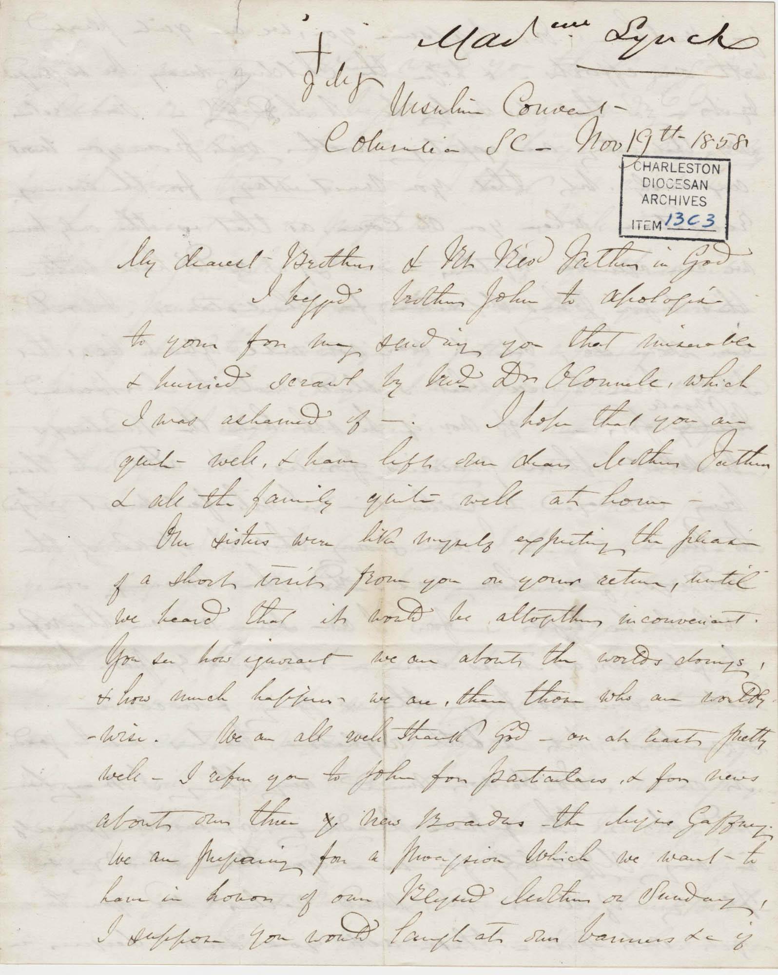 024. Madame Baptiste to Bp Patrick Lynch -- November 19, 1858