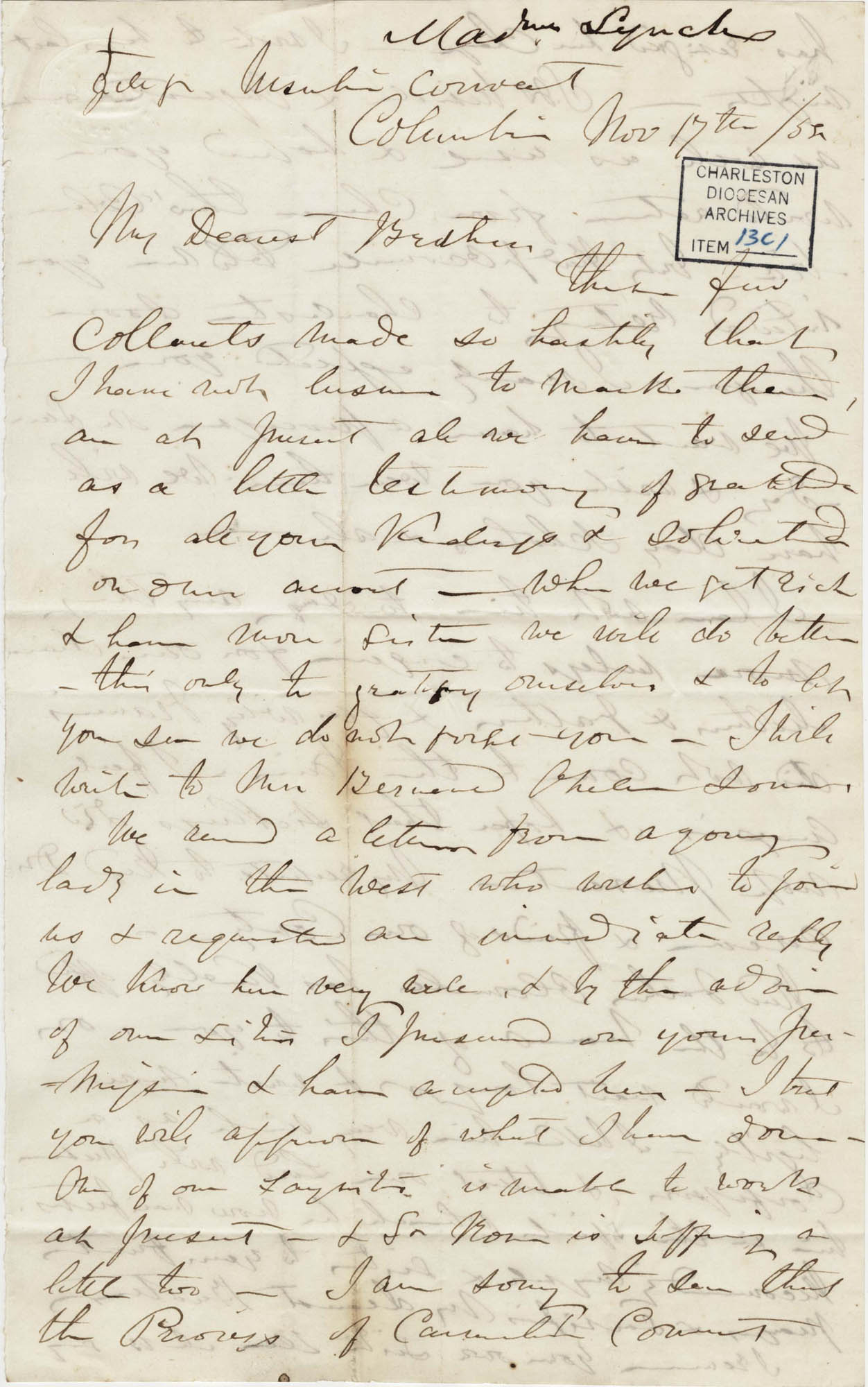 022. Madame Baptiste to Bp Patrick Lynch -- November 17, 1858