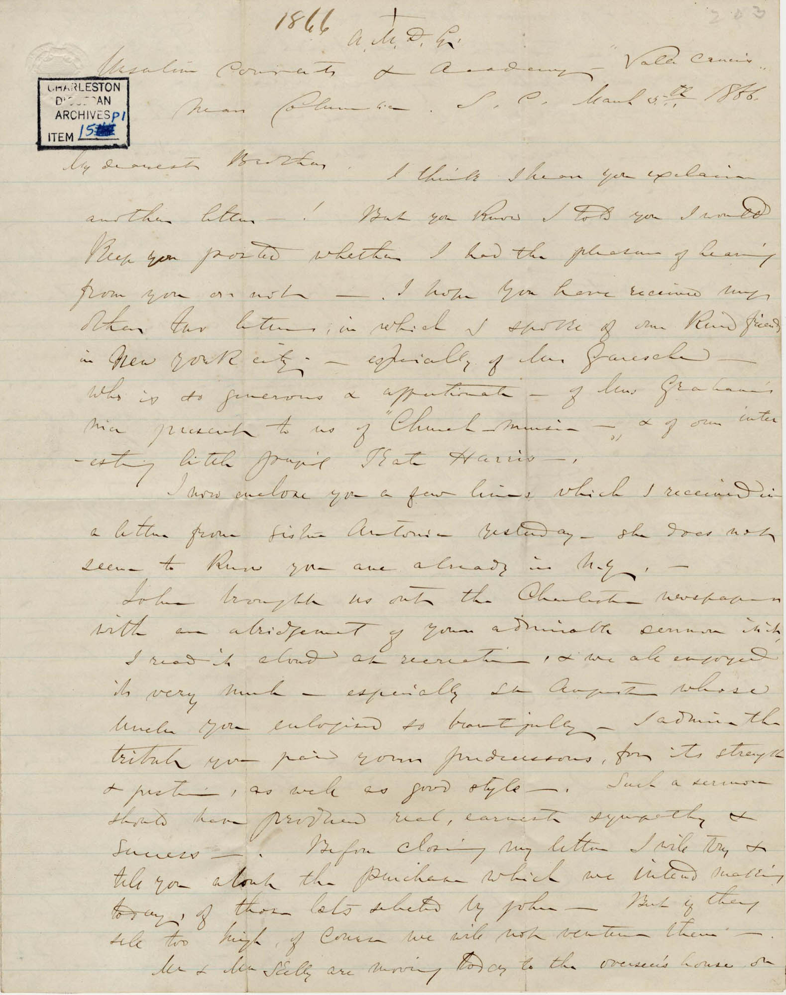 396. Madame Baptiste to Bp Patrick Lynch -- March 5, 1866