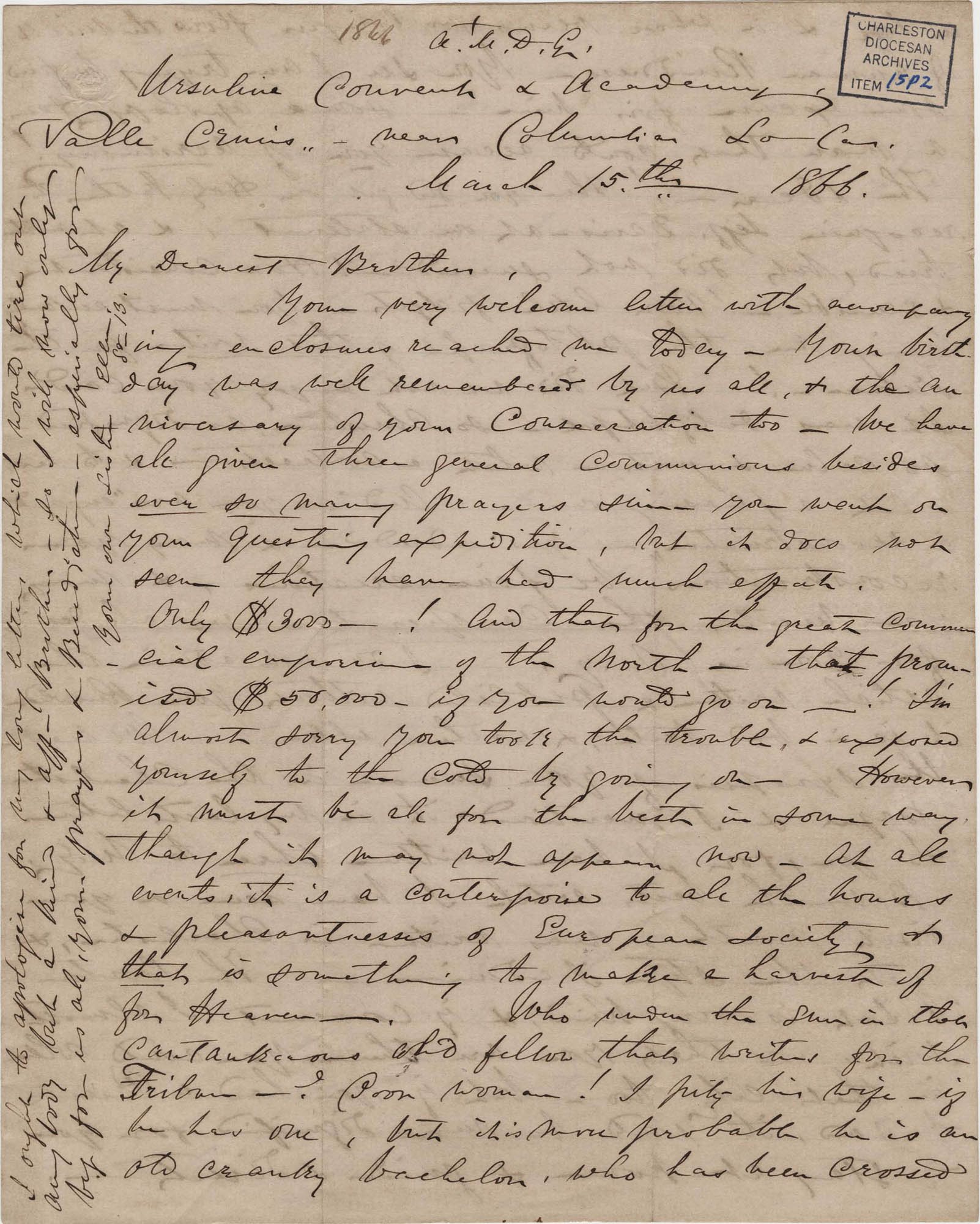 397. Madame Baptiste to Bp Patrick Lynch -- March 15, 1866