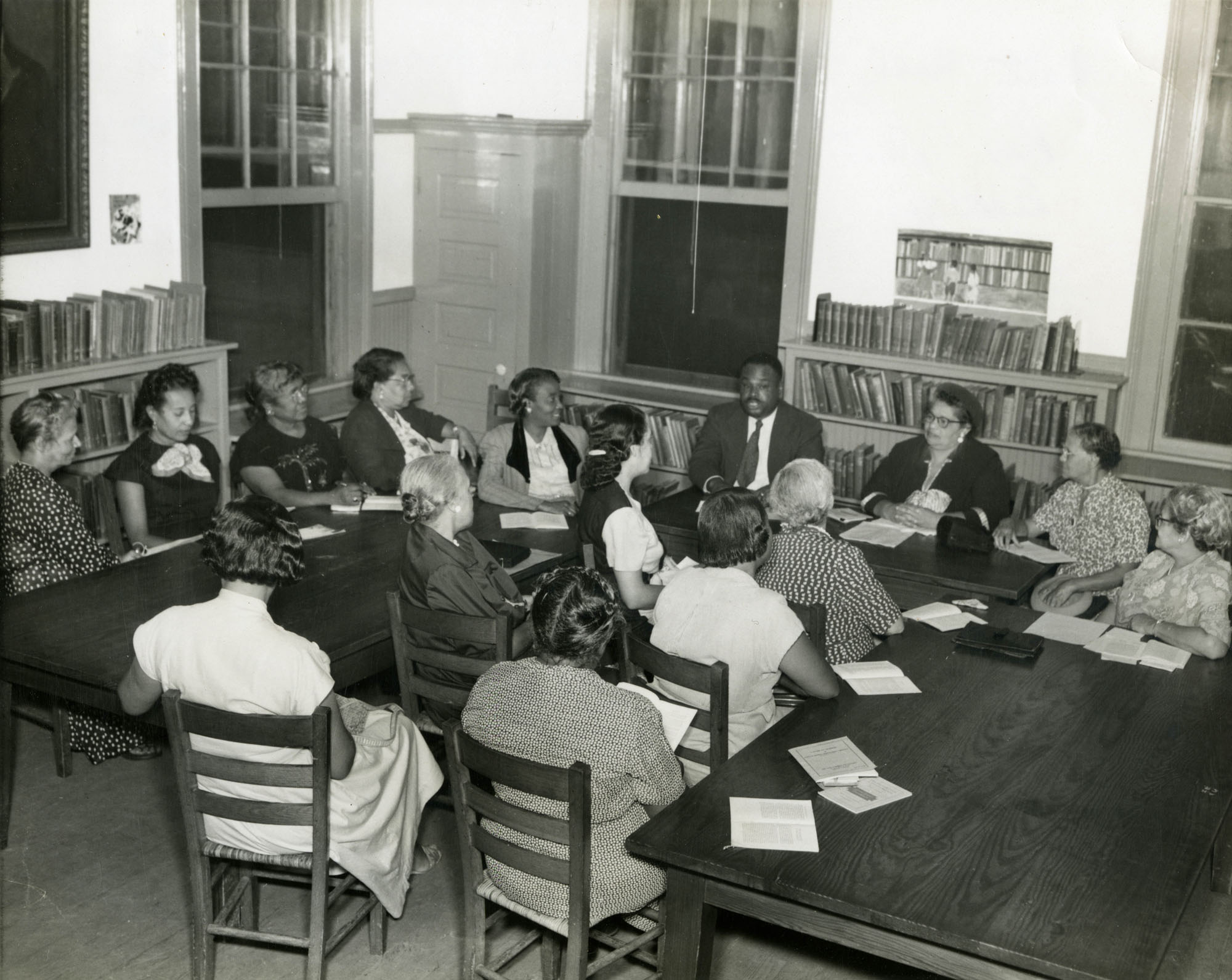 Book discussion at Dart Hall Branch Library, 1952 (1)