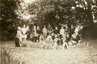 Children in garden, Main Library (1)