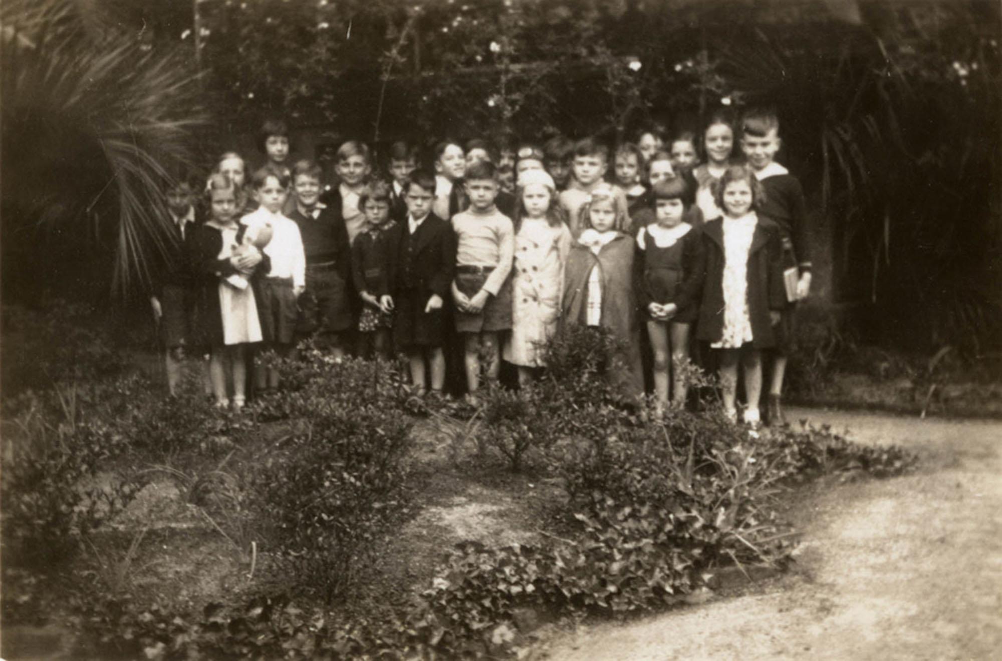 Children in garden, Main Library (2)