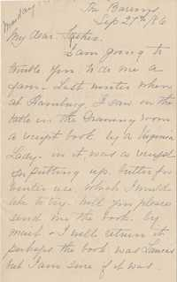 377. Fannie Heyward to her father -- September 27, 1886