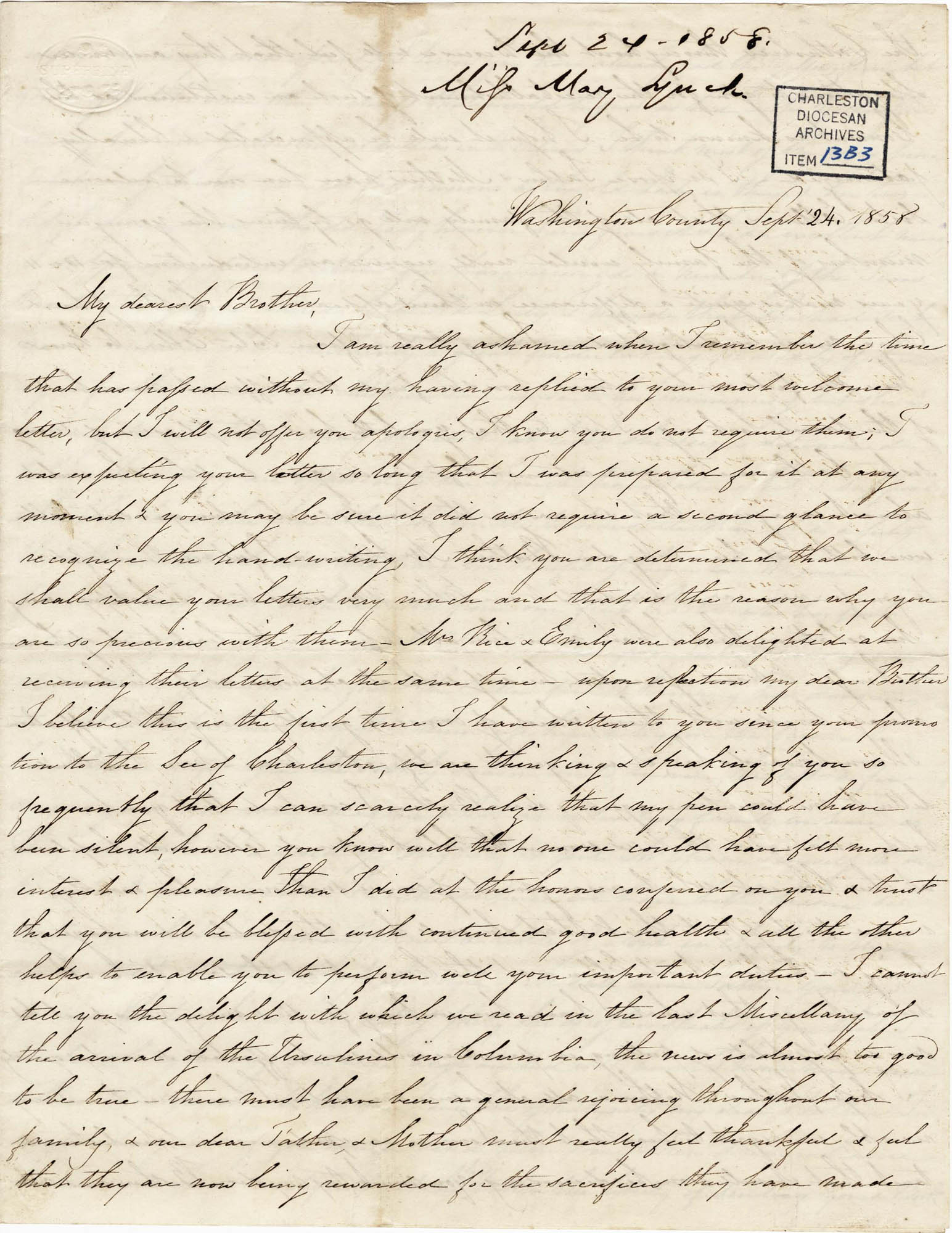 014. Mary Lynch Spann to Bp Patrick Lynch -- September 24, 1858