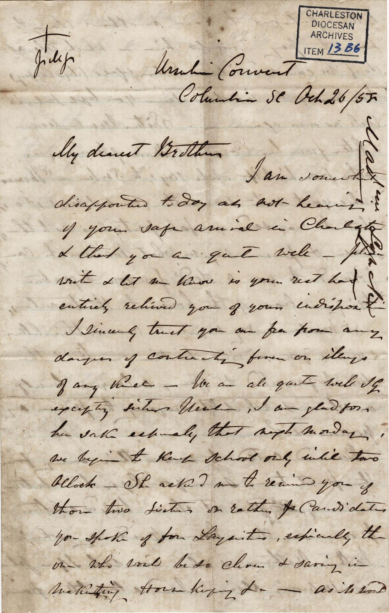 017. Madame Baptiste to Bp Patrick Lynch -- October 26, 1858