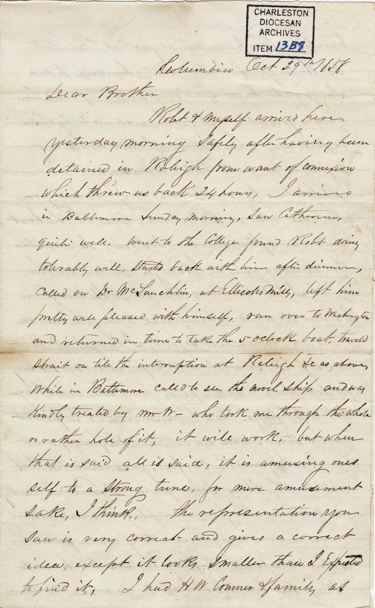 019. John Lynch to Bp Patrick Lynch -- October 29, 1858
