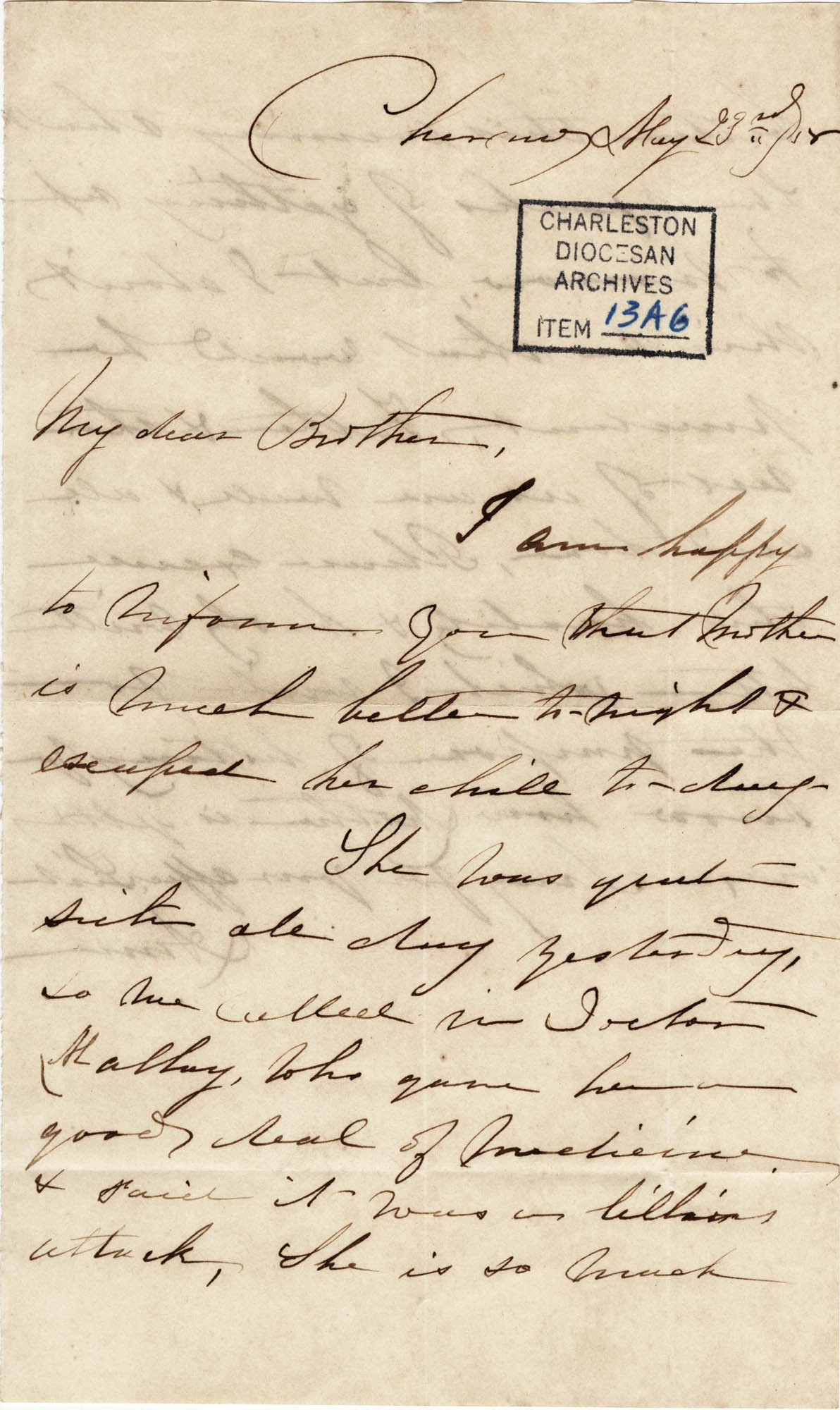 006. Anna Lynch to Bp Patrick Lynch -- May 23, 1858