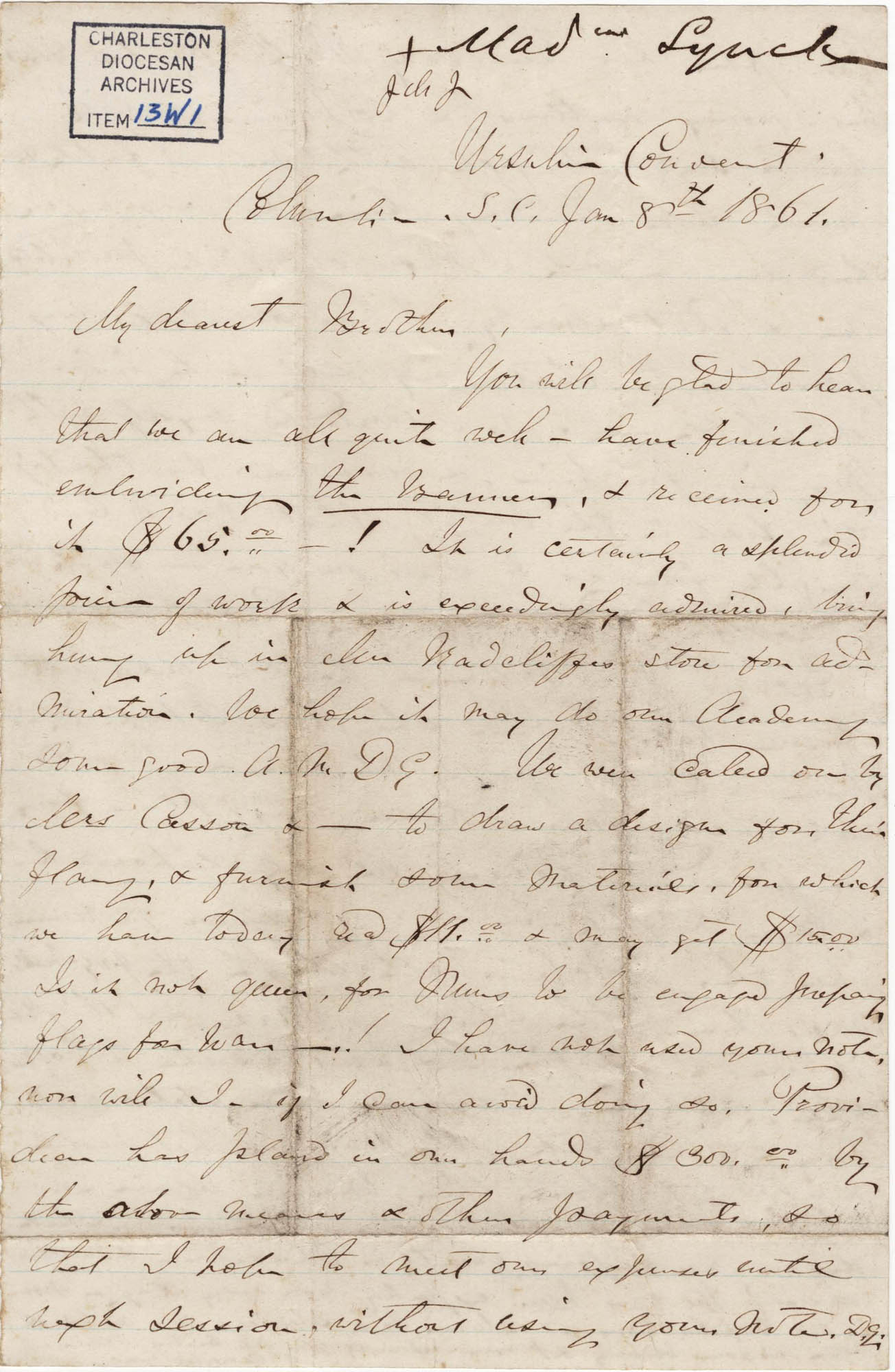 140. Madame Baptiste to Bp Patrick Lynch -- January 8, 1861