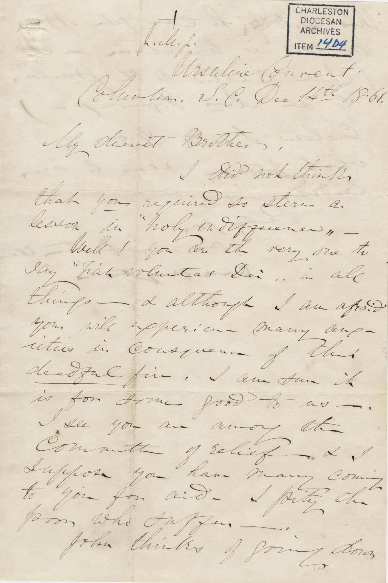 188. Madame Baptiste to Bp Patrick Lynch -- December 14, 1861