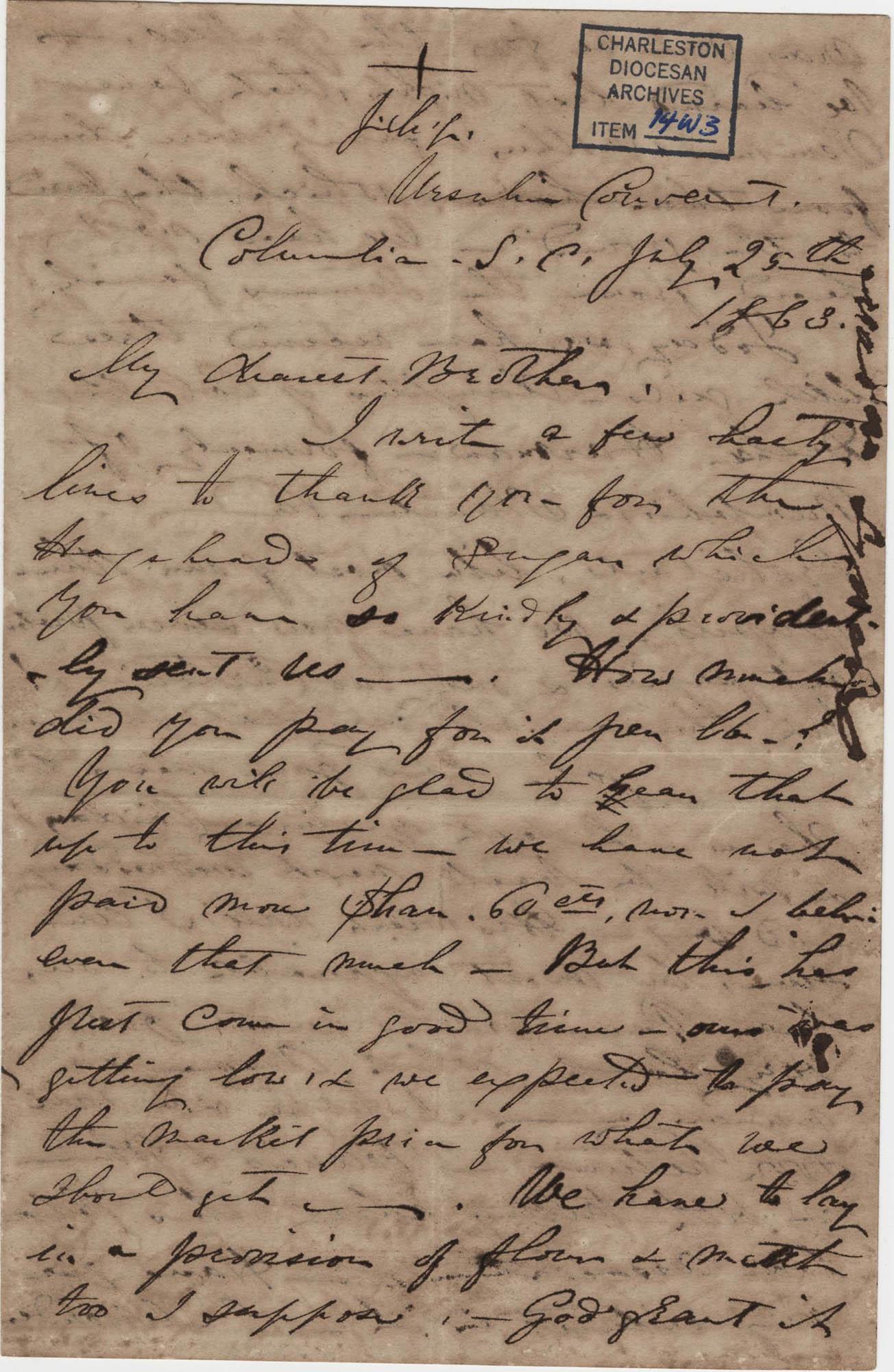 289. Madame Baptiste to Bp Patrick Lynch -- July 25, 1863