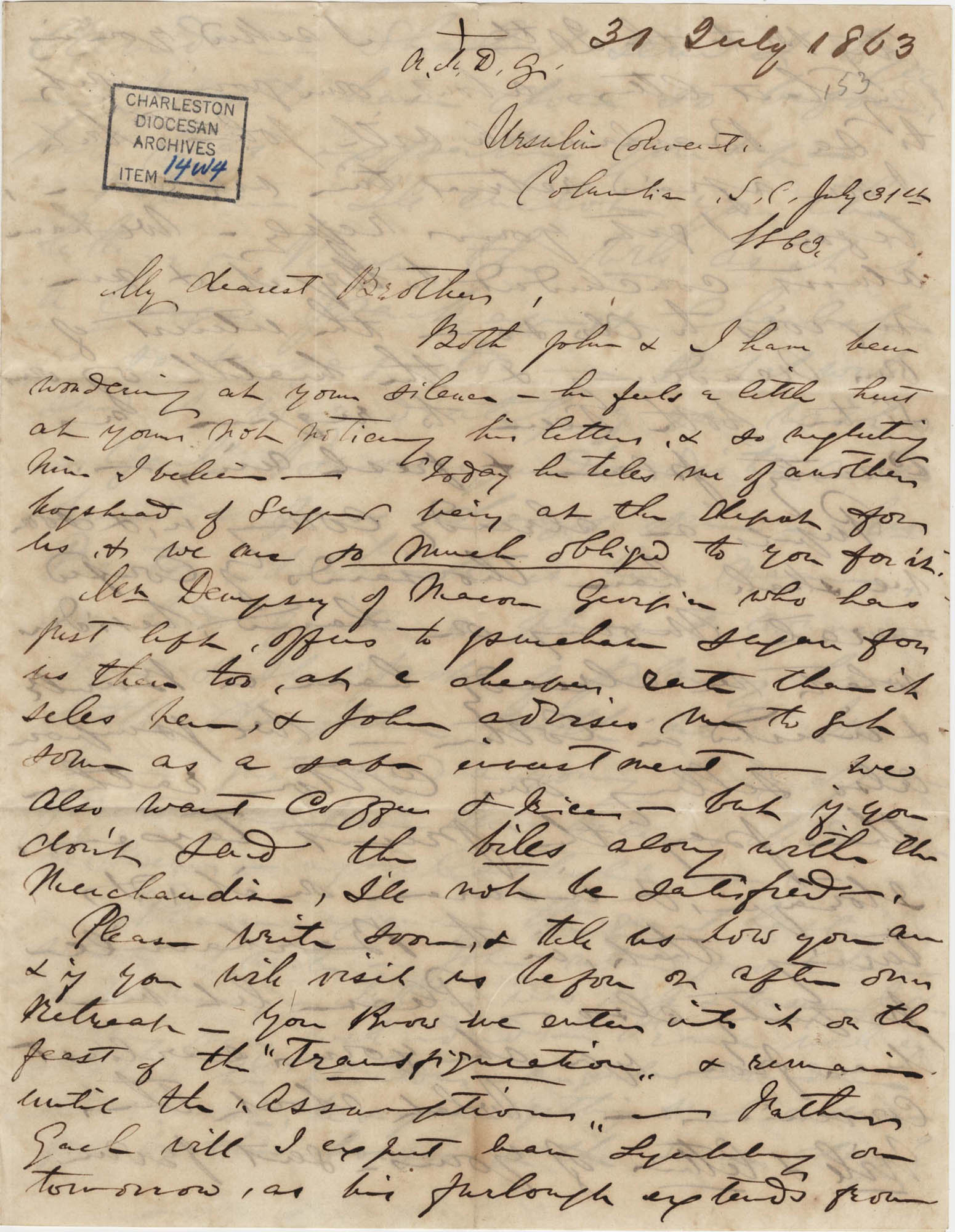 290. Madame Baptiste to Bp Patrick Lynch -- July 31, 1863