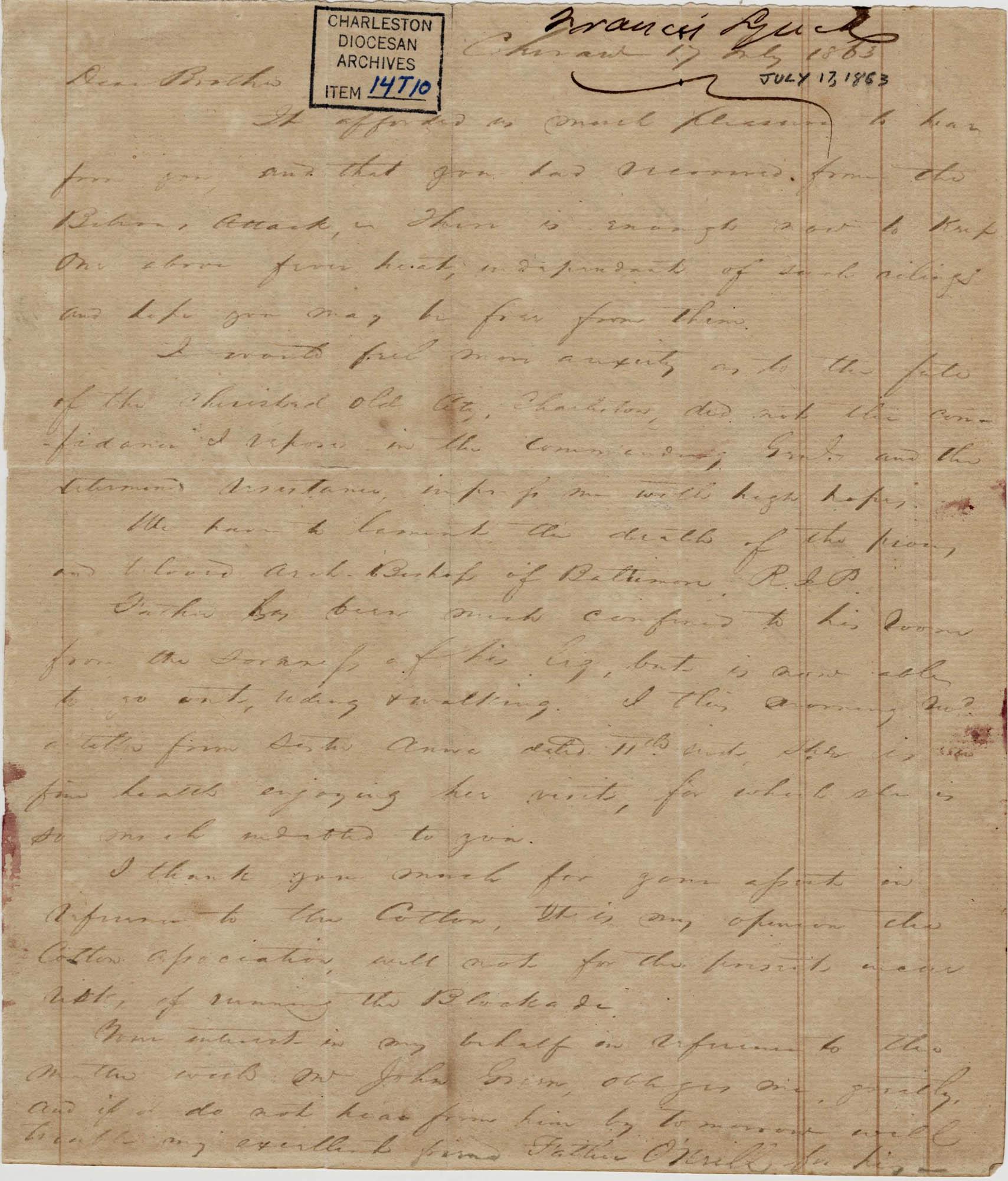 286. Francis Lynch to Bp Patrick Lynch -- July 17, 1863
