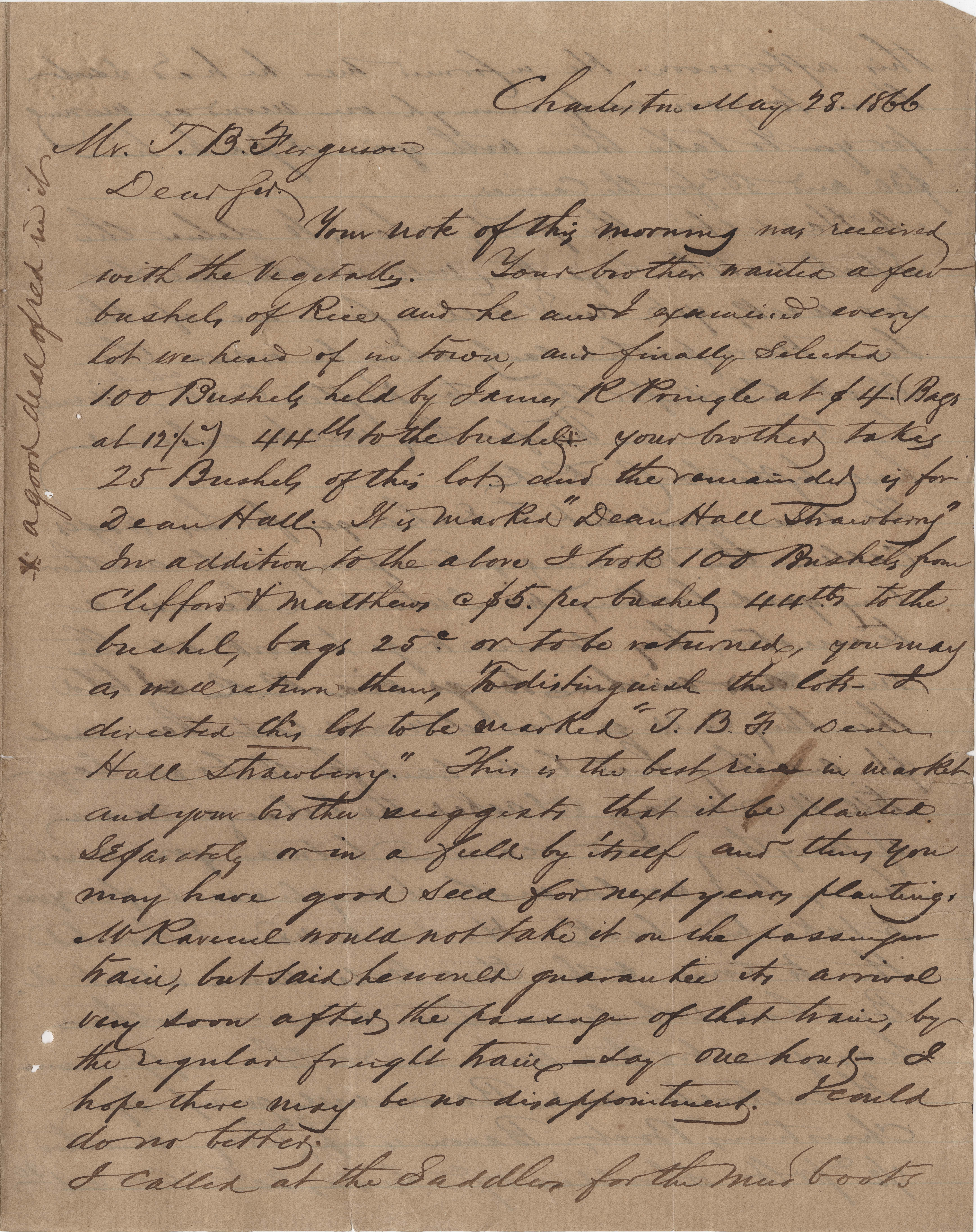 295. William McBurney to Thomas B. Ferguson -- May 28, 1866