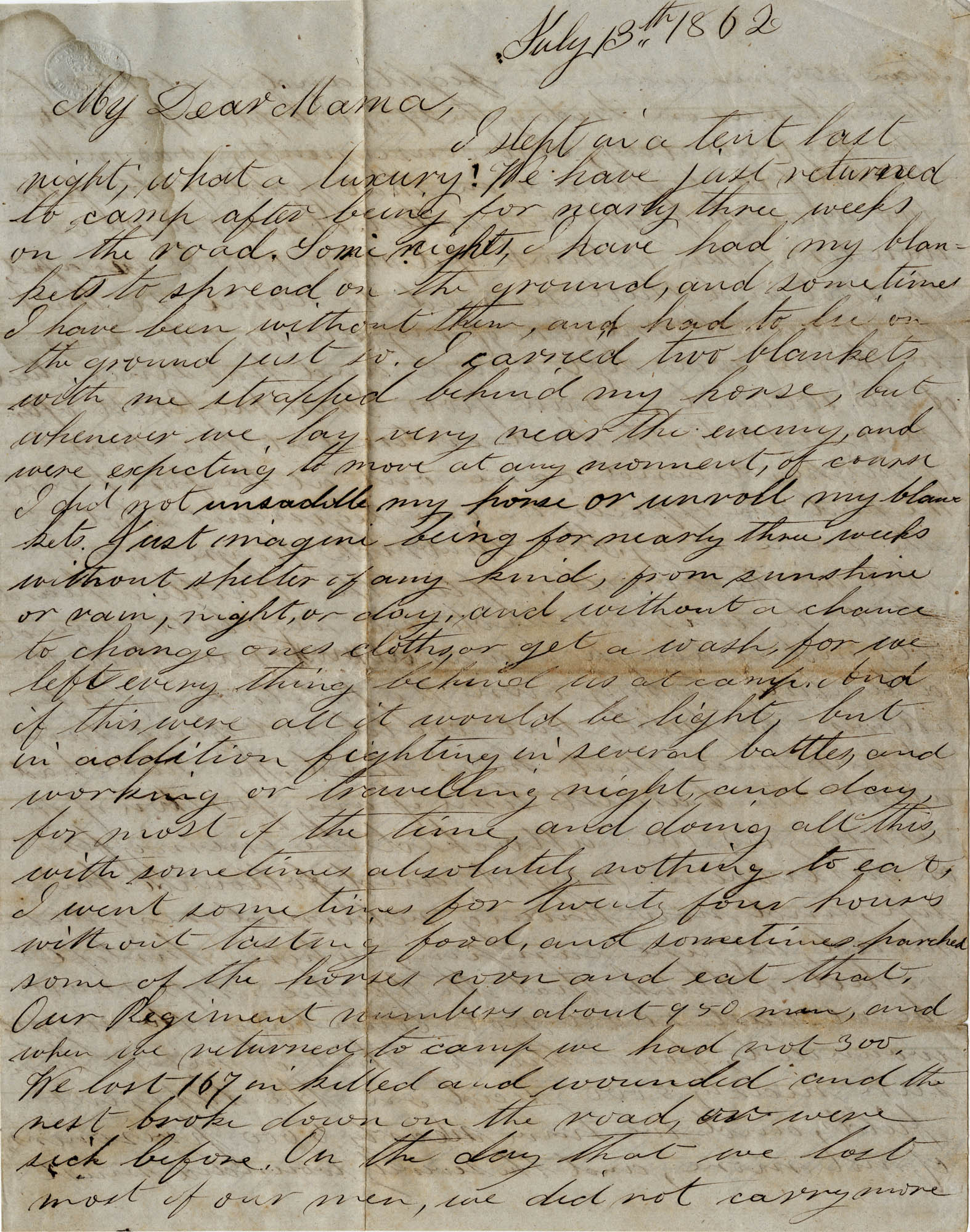 060. Willis Keith to Anna Bell Keith -- July 13, 1862