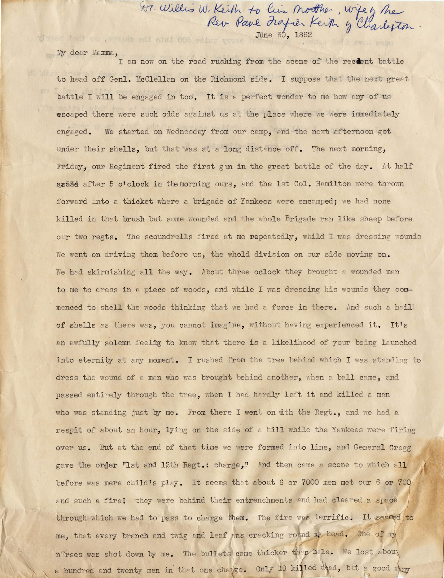 059. Willis Keith to Anna Bell Keith -- June 30, 1862