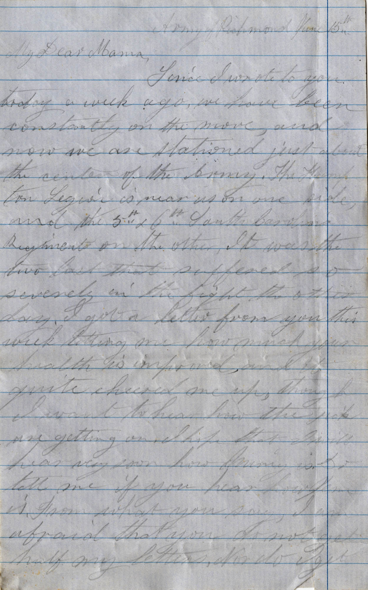 056. Willis Keith to Anna Bella Keith -- June 15, 1862?.